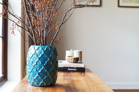 Decorated Table with Jewel Tone Vase
