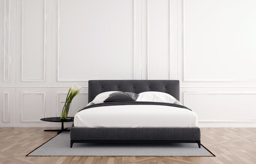 Gray Modern Upholstered Bed with White Linens